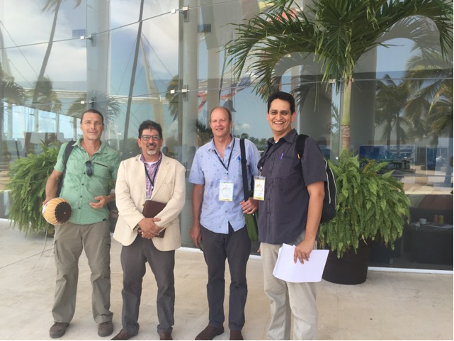 Mexico, group photo, Erik Saracho, with jaguar call in his hand; Sergio Lopez, executive director of Grupo Selome Mexico; TC; Juan Carlos Bravo.