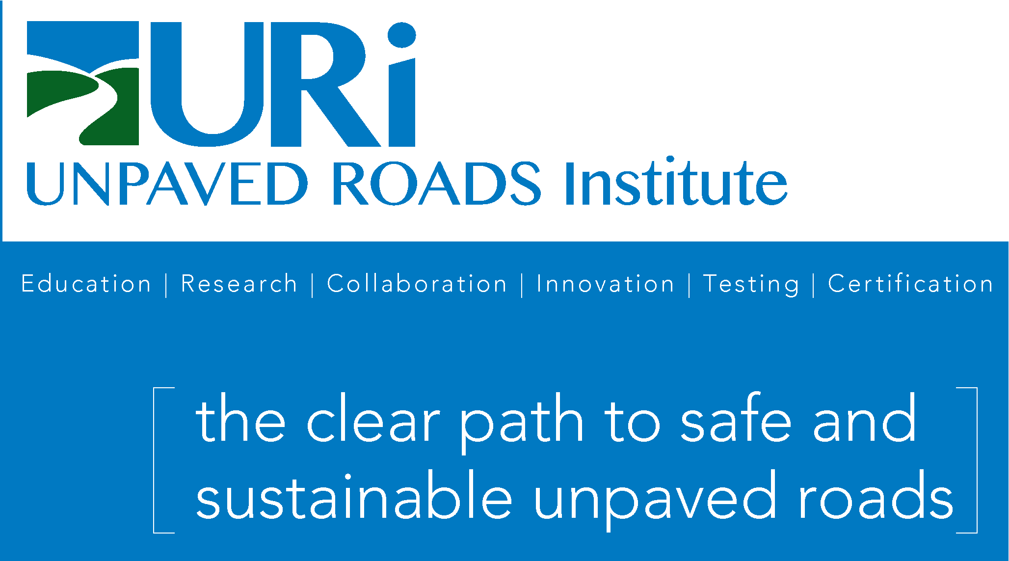 "Logo-Thumbnail for URI, Unpaved Roads Institute. States ""The clear path to safe, sustainable unpaved roads"