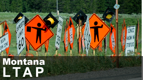 MT LTAP Center ID image. Shows selection of road construction signs in a row