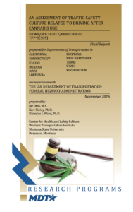 Report cover for Montana Department of Transportation. Driving Under the Influence of Cannabis. Center for Health and Safety Culture