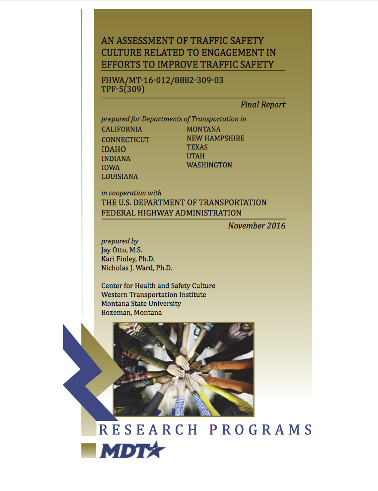 Report Cover-CHSC-An Assessment of Traffic Safety Culture Related to Engagement in Efforts to Improve Traffic Safety. Includes MDT Logo + Multiracial hands all reaching and connecting in the center of a group.