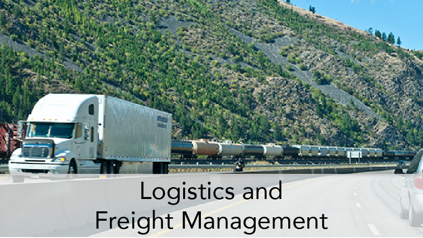 WTI-ProgramThumbTitle-Logistics and Freight Management. Image Subject: Driver View of interstate with commercial truck and line of oil tankers on rail.