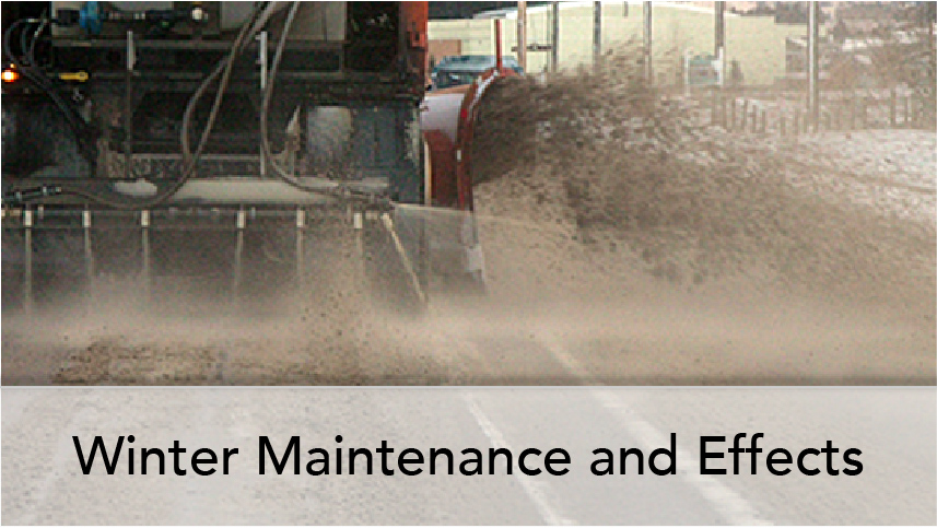 WTI Program Thumb Winter Maintenance and Effects. Image on road following snowplow in operation with deice fluid being applied.