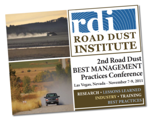 RDI Road Dust Institute postcard promoting 2nd Road Dust Best Management Practices Conference