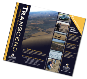 Cover of TRANSCEND brochure featuring various images of research projects and an aerial view of the test tracks.