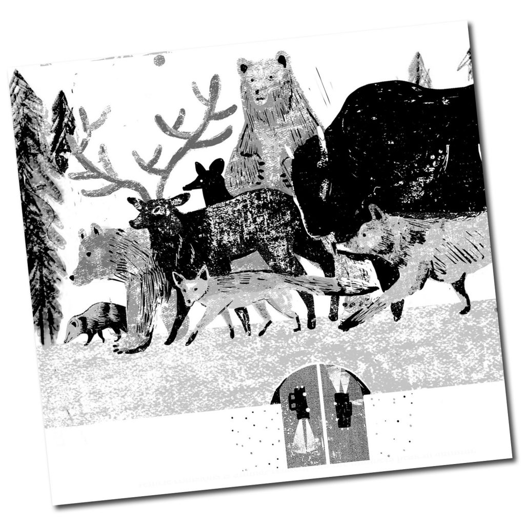 WTI Web Thumb WildlifeCrossing-Credit Irene Rinaldi- Rustic grayscale sketch of wildlife (bear, bison, wolf, fox, deer etc. crossing over roadway with vehicles.