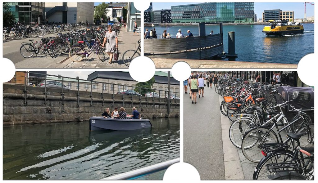 Images of established alternate transportation modes in Denmark. Water taxis and bicycle commuting. Photos by David Kack