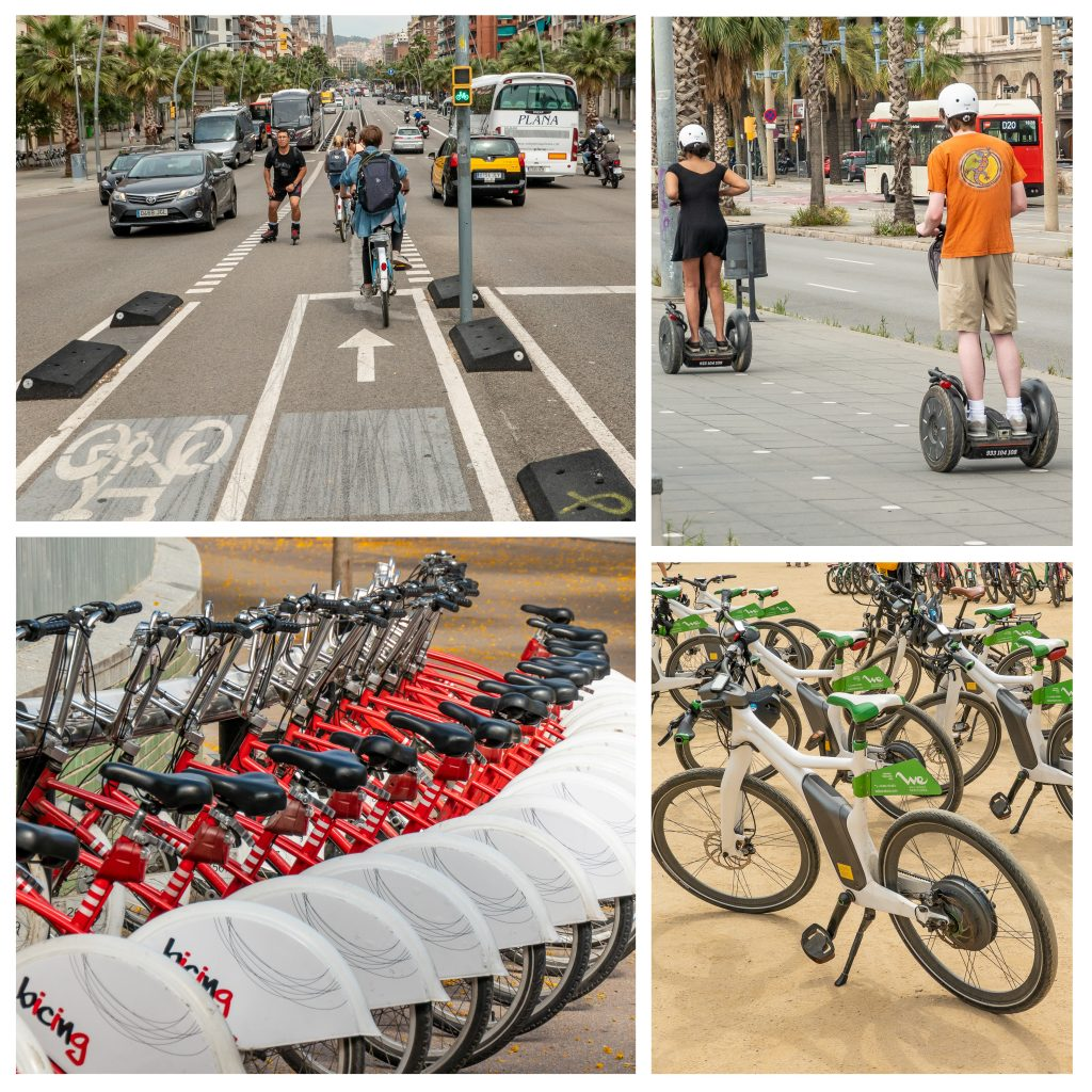 Enhanced alternates to traditional bike commuting with bike share, eBikes and other electronic conveyances take advantage of bike lane infrastructure. A selection of images showing bikes, Segways and eBikes in Barcelona.