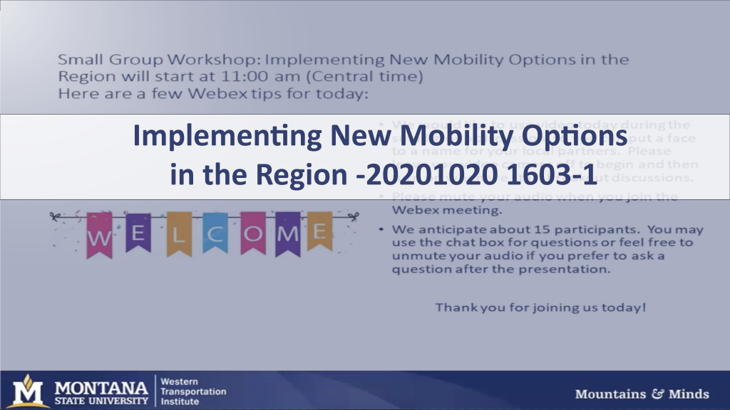 Webinar cover: Implementing New Mobility Options in the Region
