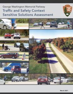 Report Cover for George Washington Memorial Parkway Safety Assessment with photos of pedestrian and cyclists sharing road with vehicles